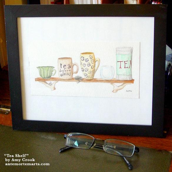 Tea Shelf, framed art by Amy Crook
