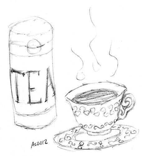 Tea pencil sketch by Amy Crook