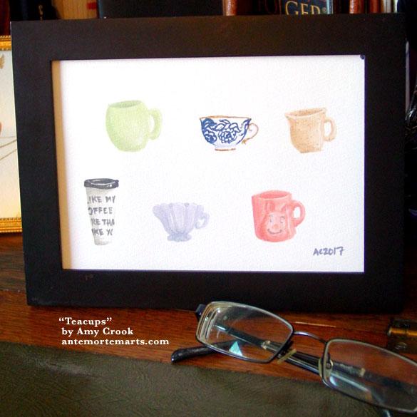 Teacups, framed art by Amy Crook