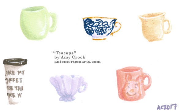 Teacups, illustration by Amy Crook