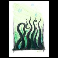 Tentacle Deeps 14, 5x7 pen and ink and watercolor on paper by Amy Crook