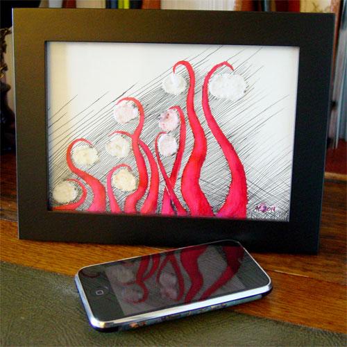 Tentacle Deeps 18, framed art by Amy Crook