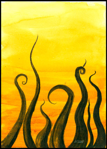 Tentacle Deeps 19, watercolor by Amy Crook