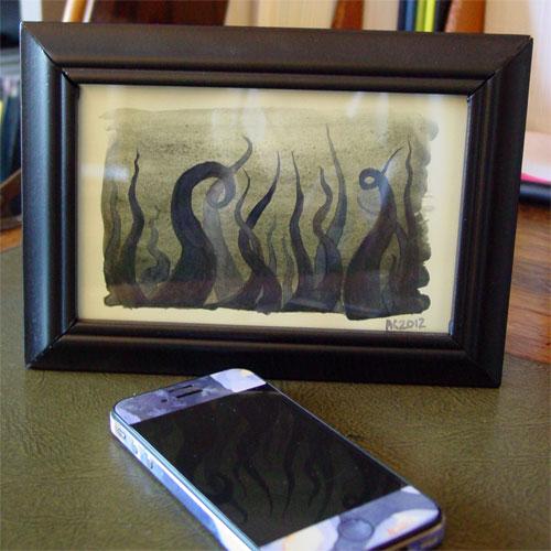 Tentacle Deeps 30, framed art by Amy Crook