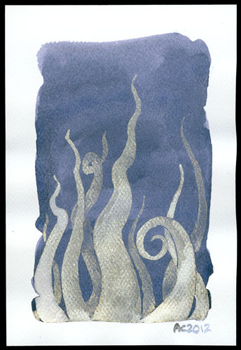 Tentacle Deeps 31, watercolor by Amy Crook