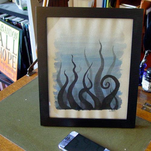 Tentacle Deeps 35, framed art by Amy Crook
