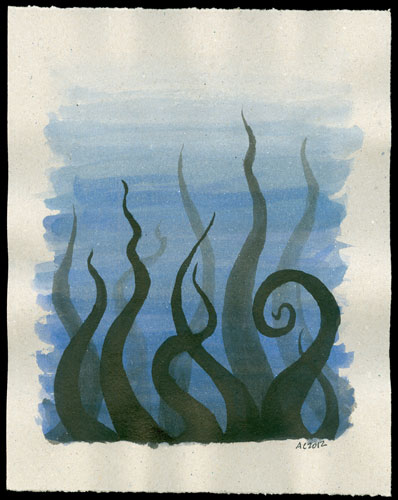 Tentacle Deeps 35, watercolor by Amy Crook