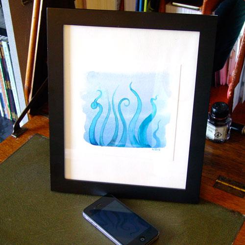 Tentacle Deeps 36, framed art by Amy Crook