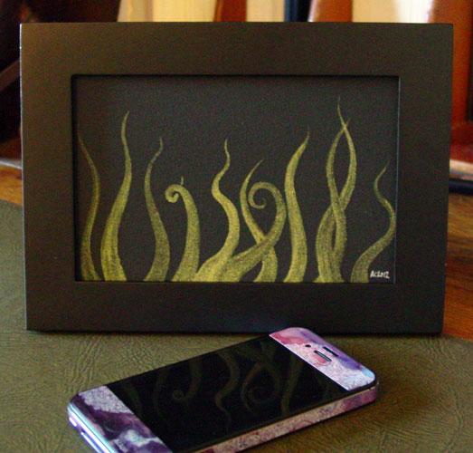 Tentacle Deeps 45, framed art by Amy Crook