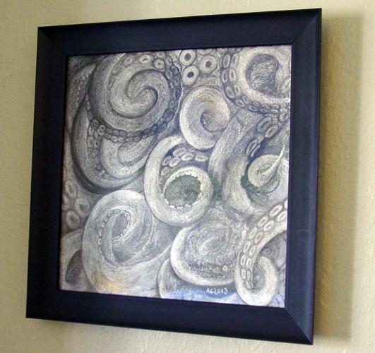 Tentacle Idol, framed art by Amy Crook