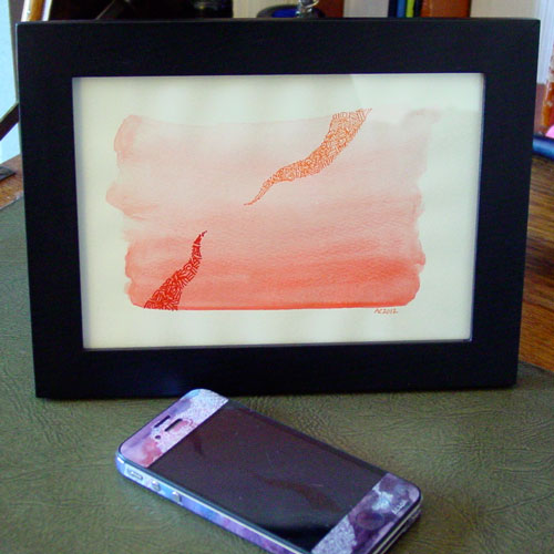 Tentacle Reach, framed art by Amy Crook