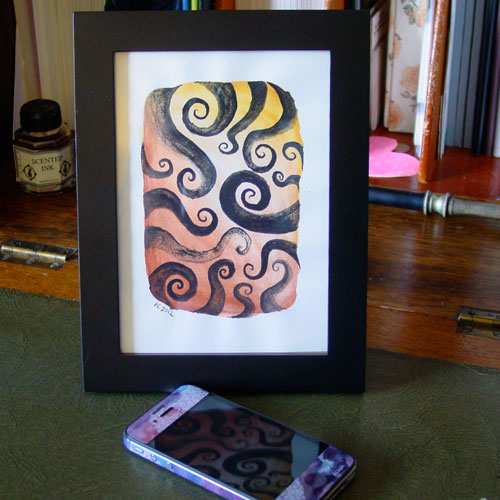 Tentacle Spiral 3, framed, by Amy Crook