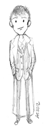 Tenth Doctor, sketch 1, by Amy Crook