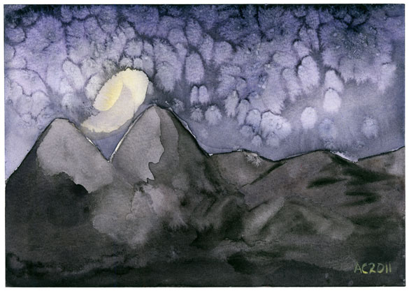 Mountains of Madness, watercolor by Amy Crook