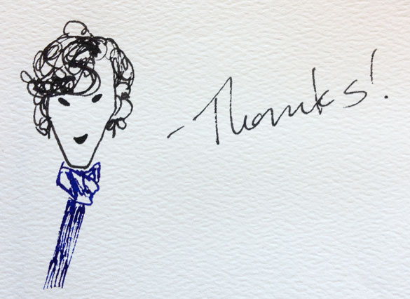 Sherlock says Thanks sketch by Amy Crook