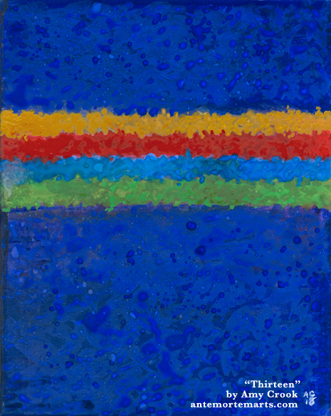Thirteen by Amy Crook, an abstract painting in TARDIS blue with 13th Doctor stripes