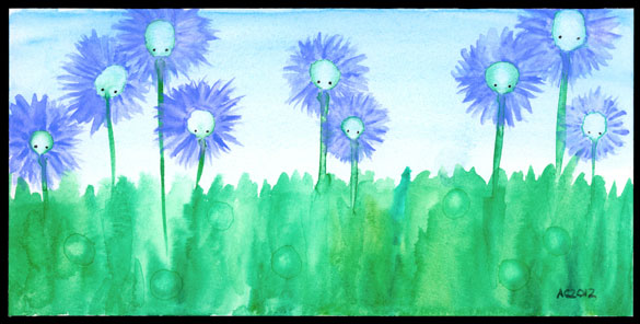 Thistledown, watercolor by Amy Crook