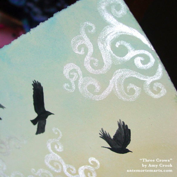 Three Crows, detail, by Amy Crook