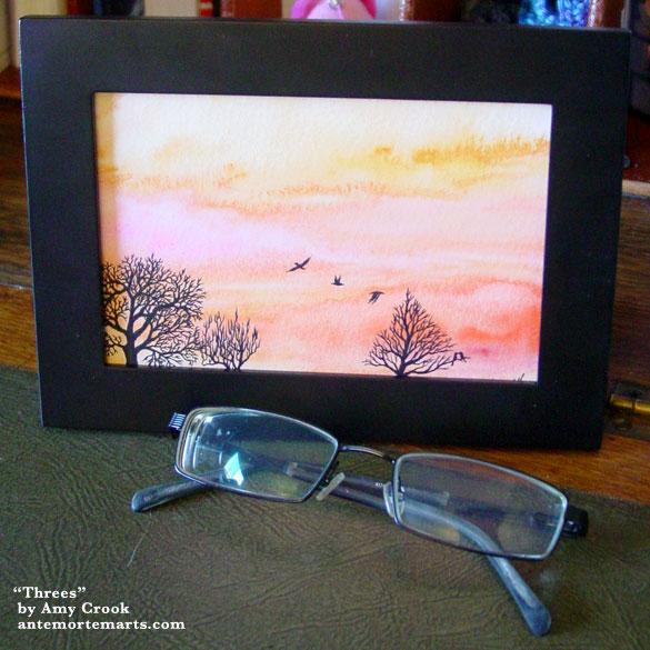 Threes, framed art by Amy Crook