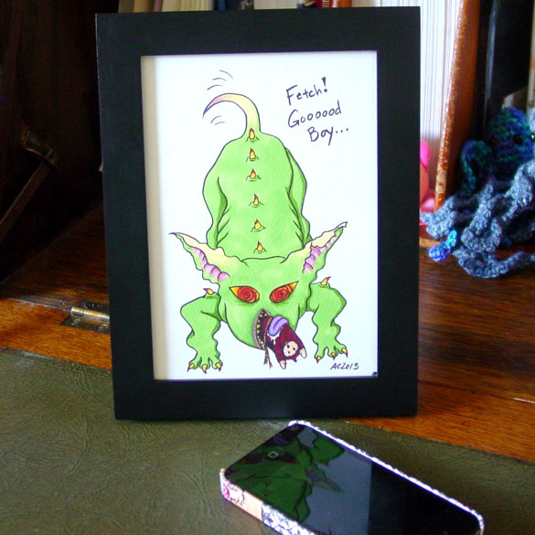 Fetch the Cultist, framed art by Amy Crook