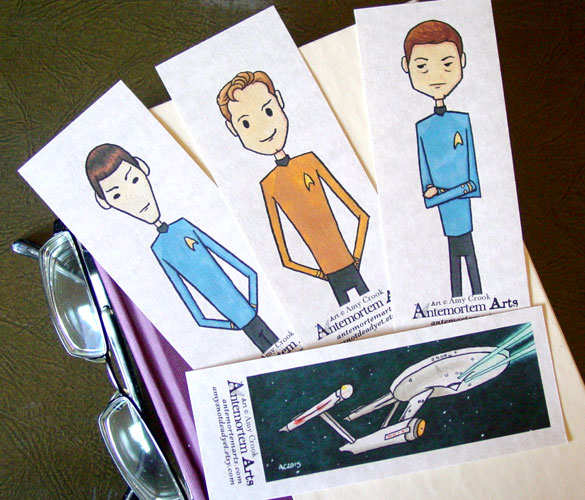 Star Trek bookmarks by Amy Crook at Etsy