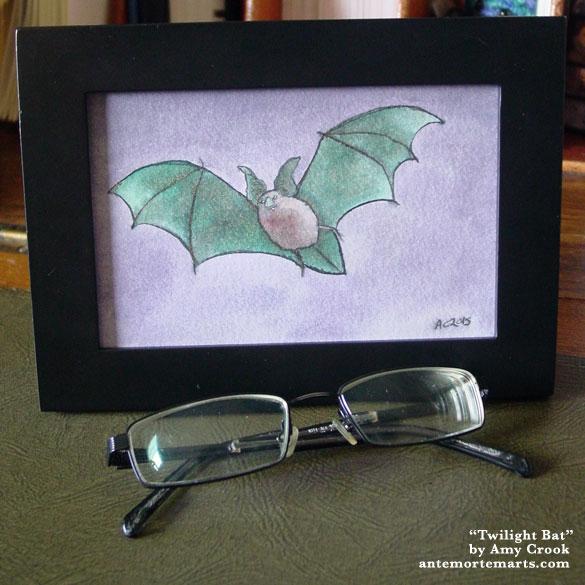 Twilight Bat, framed art by Amy Crook