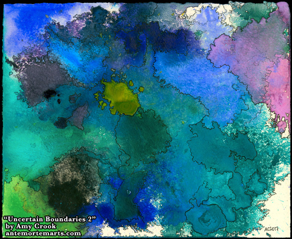 Uncertain Boundaries 2, abstract map art by Amy Crook