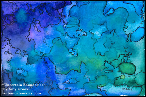 Uncertain Boundaries, abstract watercolor by Amy Crook