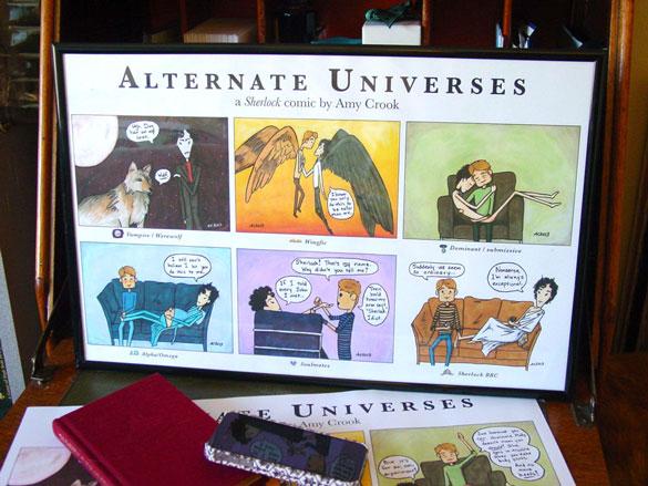 Alternate Universes, a Sherlock comic, print by Amy Crook on Etsy