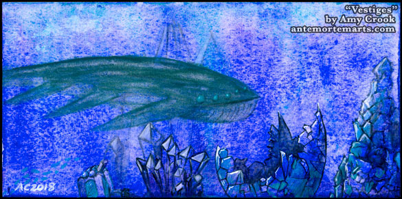 Vestiges, a watercolor painting in bright blues and turquoise of alien underwater ruins, by Amy Crook