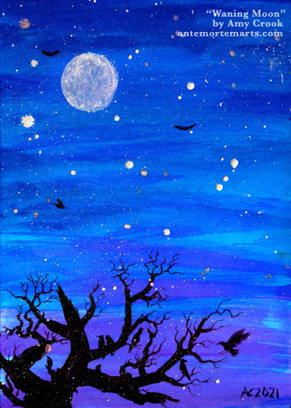 mixed media artwork of a blue-purple twilight with a waning gibbous moon, tree, and birds