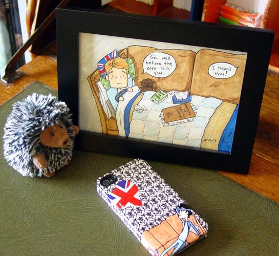 Get Well, Watson, framed art by Amy Crook