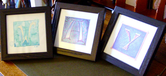 W is for Watercolor, A is for Arabesque and Y is for Yarn, framed art by Amy Crook