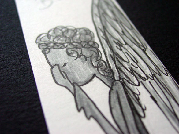 Weeping Angel Bookmark, detail, by Amy Crook