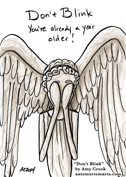 Don't Blink, Doctor Who parody art by Amy Crook