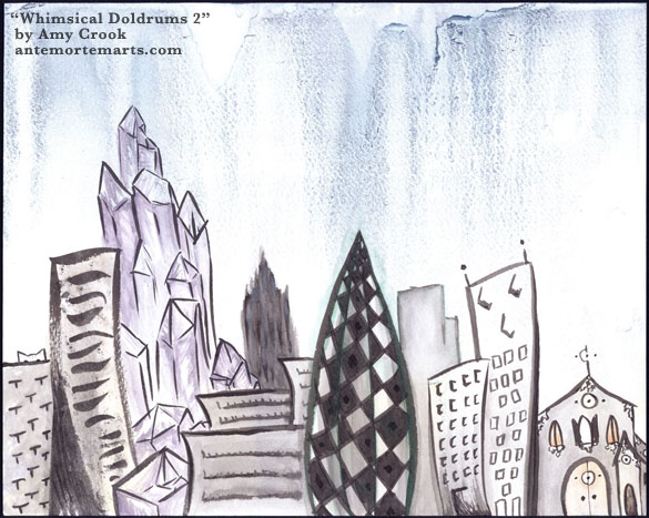 Whimsical Doldrums 2 by Amy Crook, loose ink-brushed buildings smudged with color under a grey-blue rain