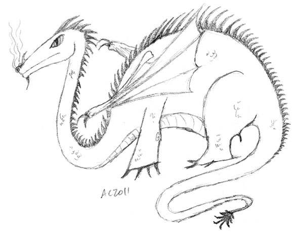 Whimsicle Dragon sketch by Amy Crook