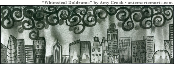 Whimsical Doldrums by Amy Crook, panorama of a bichromatic fantasy city under curlicue rainclouds, ink and watercolor on paper