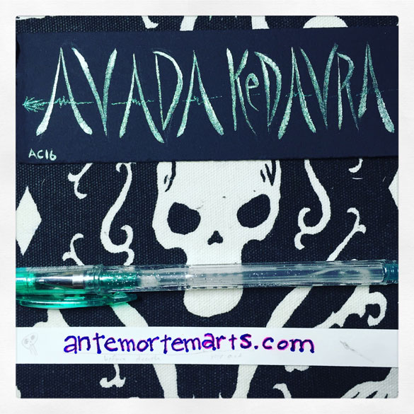 Avada Kedavra, word art bookmark by Amy Crook