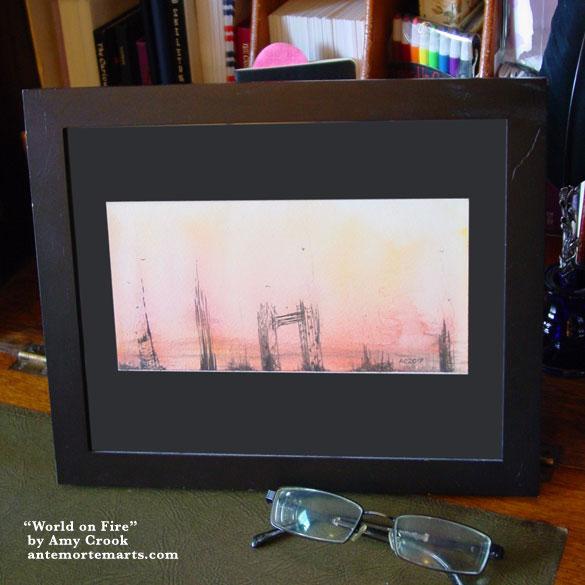 World on Fire, framed art by Amy Crook