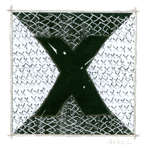 X is for Xerography, calligraphic illumination by Amy Crook