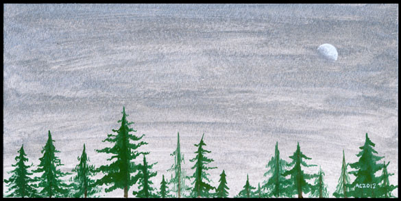Christmas Dusk watercolor by Amy Crook