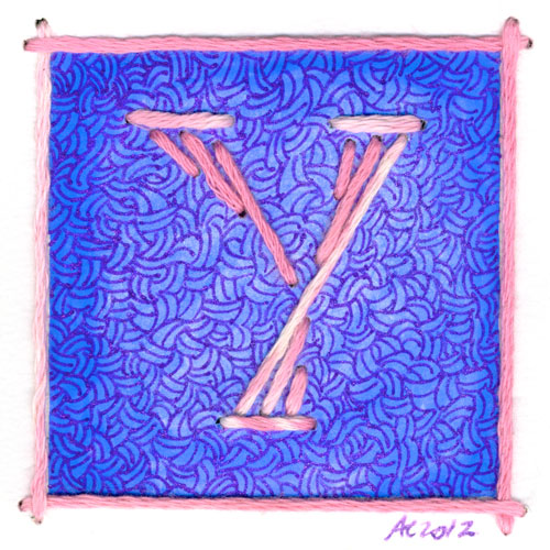 Y is for Yarn, calligraphic illumination by Amy Crook