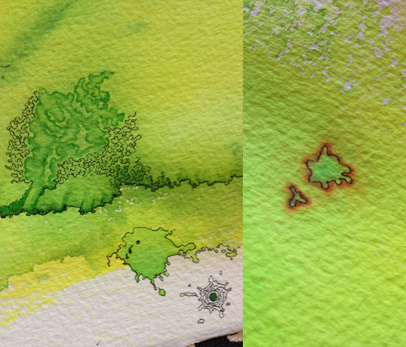 yellow-green work in progress by Amy Crook, detail 3