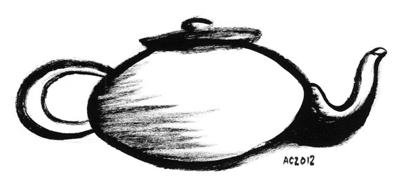 Zen Teapot, brush drawing by Amy Crook